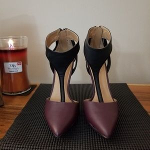 Justfab black and deep purple high heels